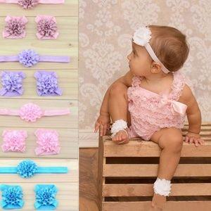 Other - Newborn baby headband footie prewalker set